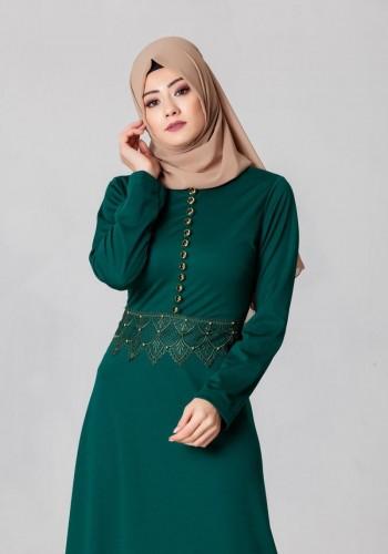 - Bel Ve Etek Ucu Güpür Detay Elbise-0660Zümrütyeşili (1)
