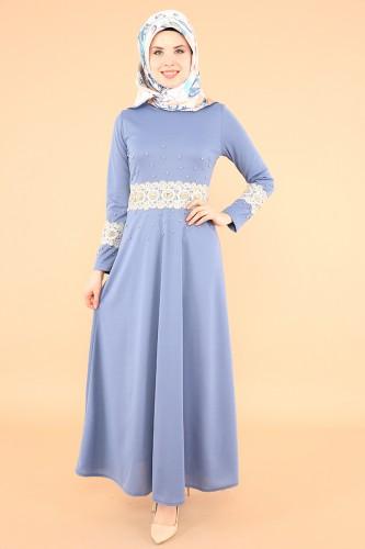Modaebva - Bel Ve Kol Güpür İnci Detay Elbise-3549Bebemavisi