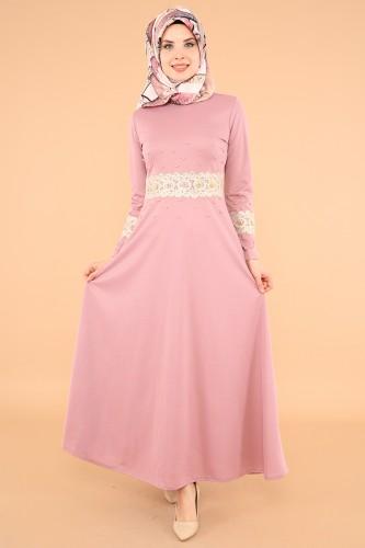 Modaebva - Bel Ve Kol Güpür İnci Detay Elbise-3549Gülkurusu