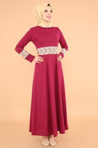 Bel Ve Kol Güpür İnci Detay Elbise-3549Mürdüm - Thumbnail