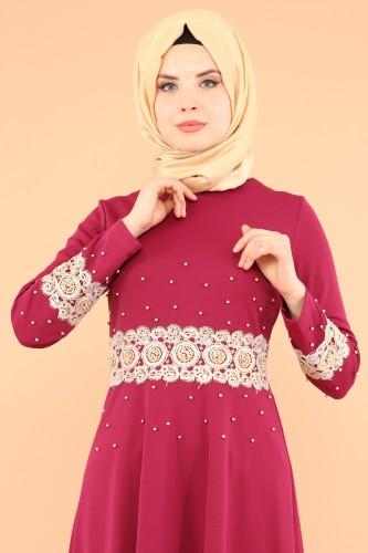 - Bel Ve Kol Güpür İnci Detay Elbise-3549Mürdüm (1)