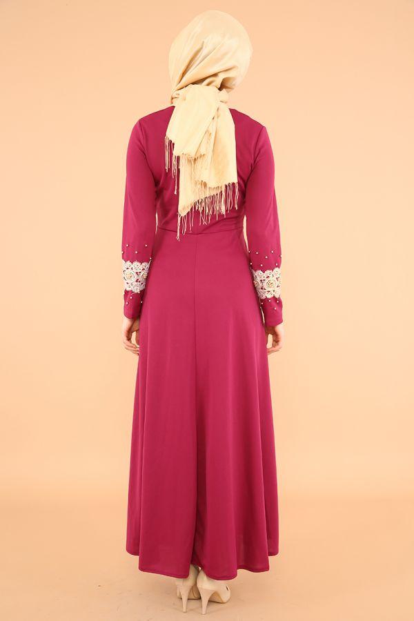 Bel Ve Kol Güpür İnci Detay Elbise-3549Mürdüm