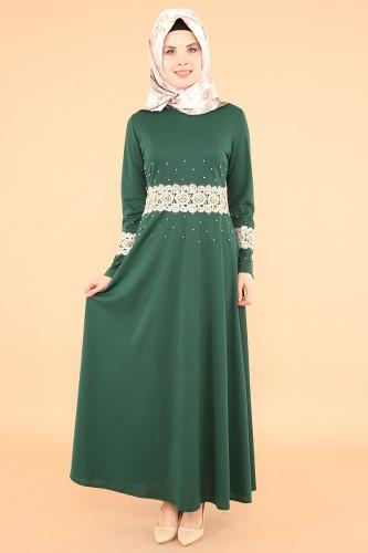 Bel Ve Kol Güpür İnci Detay Elbise-3549Zümrütyeşili - Thumbnail