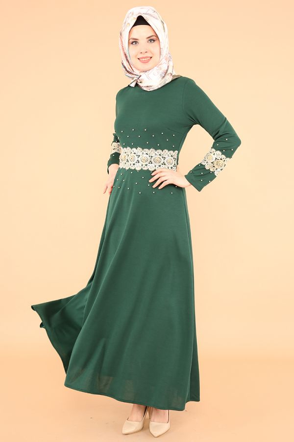 Bel Ve Kol Güpür İnci Detay Elbise-3549Zümrütyeşili