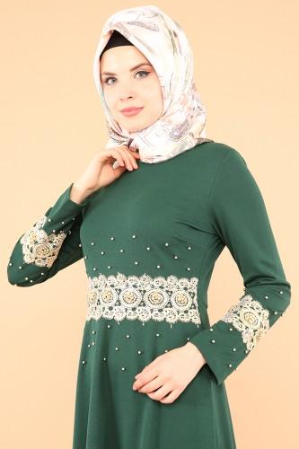 - Bel Ve Kol Güpür İnci Detay Elbise-3549Zümrütyeşili (1)