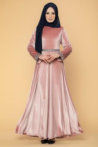 Modaebva - Bel Ve Kol Pul Şerit Detaylı Kadife Elbise-2055 Gülkurusu