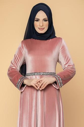 Modaebva - Bel Ve Kol Pul Şerit Detaylı Kadife Elbise-2055 Gülkurusu (1)
