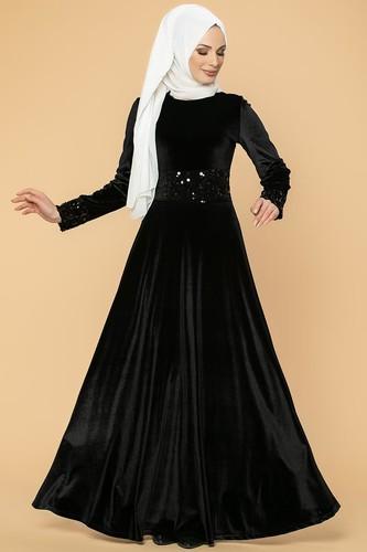 Modaebva - Bel Ve Kol Pulpayet Kadife Elbise-5050 Siyah