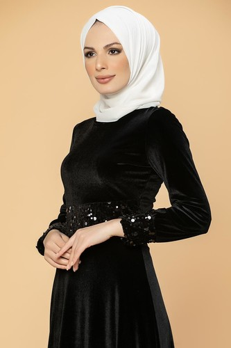 Modaebva - Bel Ve Kol Pulpayet Kadife Elbise-5050 Siyah (1)