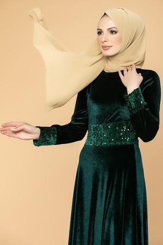 Modaebva - Bel Ve Kol Pulpayet Kadife Elbise-5050 Zümrütyeşili (1)