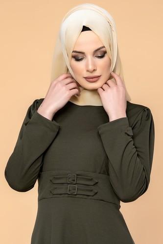 Modaebva - Bel Ve Kol Toka Detaylı Tesettür Elbise-4006 Hakiyeşil (1)