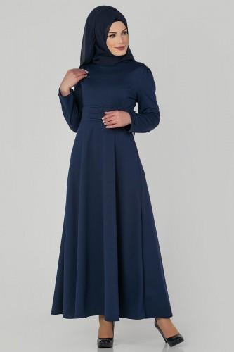 Modaebva - Bel Ve Kol Toka Detaylı Tesettür Elbise-4006 Lacivert