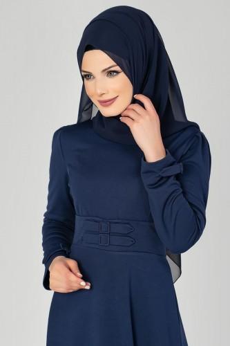Modaebva - Bel Ve Kol Toka Detaylı Tesettür Elbise-4006 Lacivert (1)