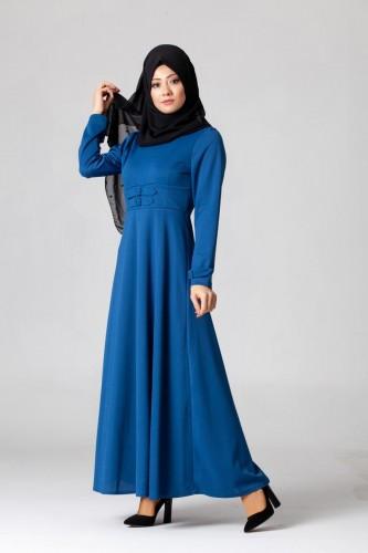 - Bel Ve Kol Toka Detaylı Tesettür Elbise-4006 Mavi
