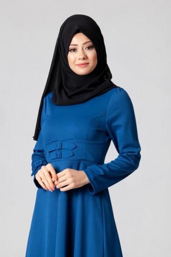 - Bel Ve Kol Toka Detaylı Tesettür Elbise-4006 Mavi (1)