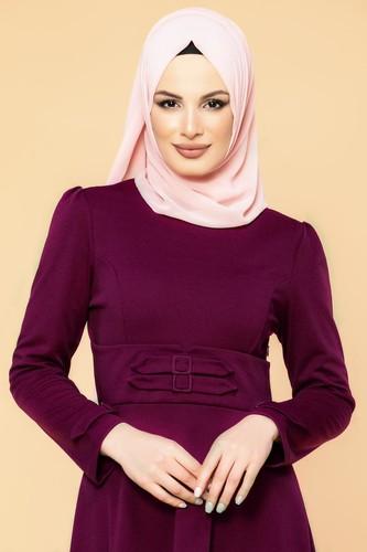 Modaebva - Bel Ve Kol Toka Detaylı Tesettür Elbise-4006 Mürdüm (1)