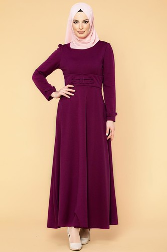 Modaebva - Bel Ve Kol Toka Detaylı Tesettür Elbise-4006 Mürdüm