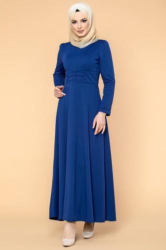Modaebva - Bel Ve Kol Toka Detaylı Tesettür Elbise-4006 Saksmavisi