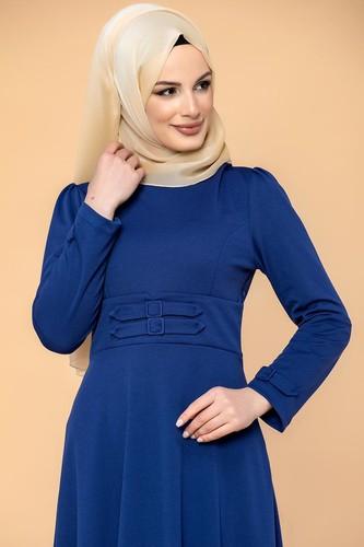 Modaebva - Bel Ve Kol Toka Detaylı Tesettür Elbise-4006 Saksmavisi (1)