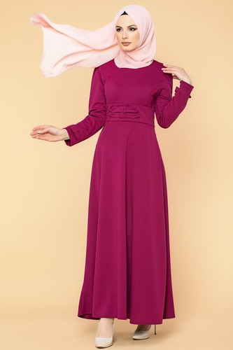 Modaebva - Bel Ve Kol Toka Detaylı Tesettür Elbise-4006 Şarabi