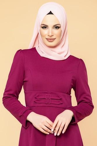 Modaebva - Bel Ve Kol Toka Detaylı Tesettür Elbise-4006 Şarabi (1)