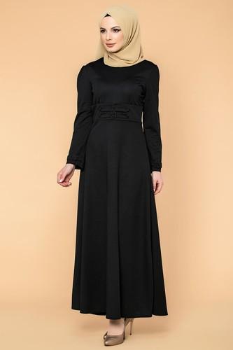 Modaebva - Bel Ve Kol Toka Detaylı Tesettür Elbise-4006 Siyah