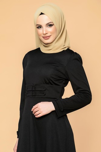 Modaebva - Bel Ve Kol Toka Detaylı Tesettür Elbise-4006 Siyah (1)
