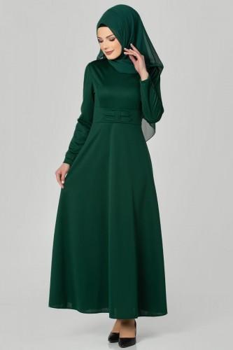 Modaebva - Bel Ve Kol Toka Detaylı Tesettür Elbise-4006 Zümrütyeşili