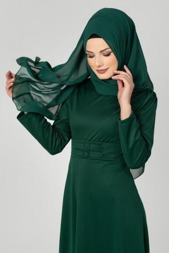 Modaebva - Bel Ve Kol Toka Detaylı Tesettür Elbise-4006 Zümrütyeşili (1)