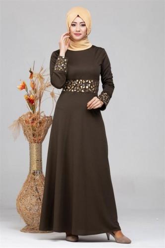 Modaebva - Bel Ve Kol Varak Taş İşleme Elbise-4000 Hakiyeşil