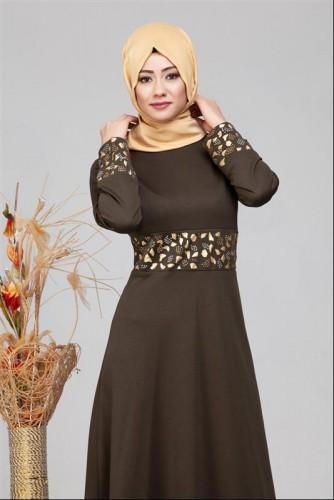 Modaebva - Bel Ve Kol Varak Taş İşleme Elbise-4000 Hakiyeşil (1)