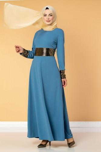 - Bel Ve Kol Varaklı Elbise-5000 Bebemavisi