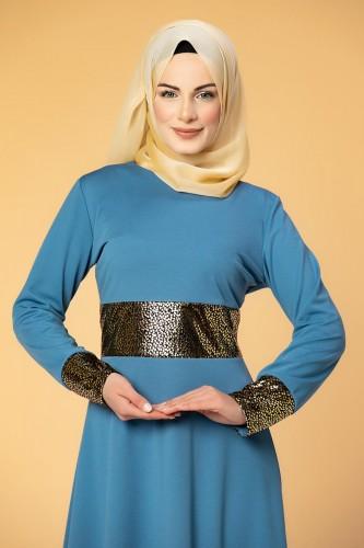 - Bel Ve Kol Varaklı Elbise-5000 Bebemavisi (1)