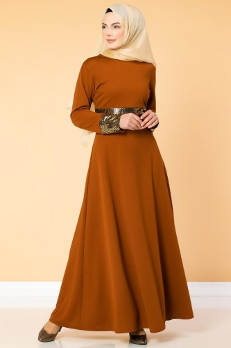 - Bel Ve Kol Varaklı Elbise-5000 Kiremit