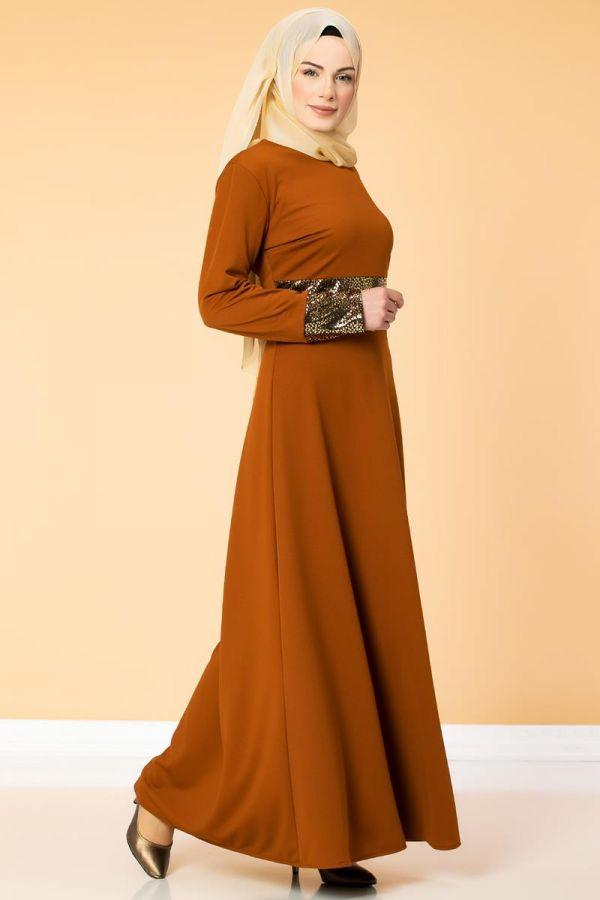 Bel Ve Kol Varaklı Elbise-5000 Kiremit