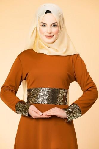 - Bel Ve Kol Varaklı Elbise-5000 Kiremit (1)