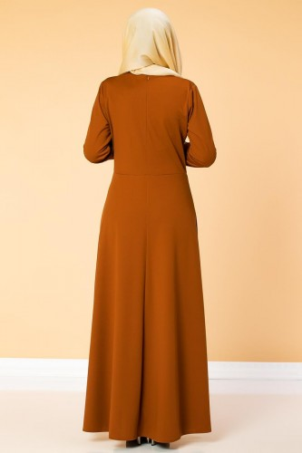 Bel Ve Kol Varaklı Elbise-5000 Kiremit - Thumbnail