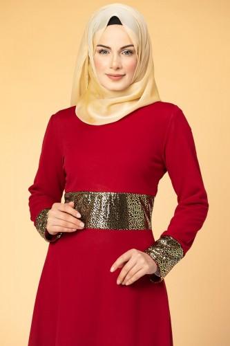 Bel Ve Kol Varaklı Elbise-5000 Kırmızı - Thumbnail