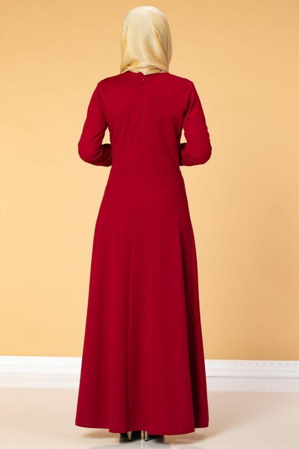 Bel Ve Kol Varaklı Elbise-5000 Kırmızı