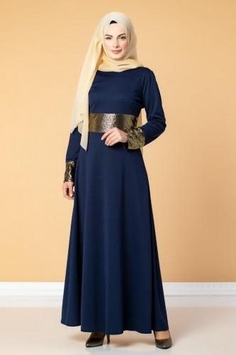 - Bel Ve Kol Varaklı Elbise-5000 Lacivert