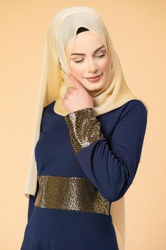 - Bel Ve Kol Varaklı Elbise-5000 Lacivert (1)