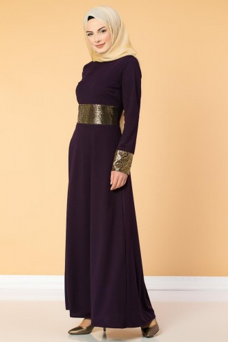 - Bel Ve Kol Varaklı Elbise-5000 Mor