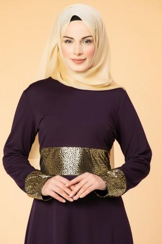- Bel Ve Kol Varaklı Elbise-5000 Mor (1)