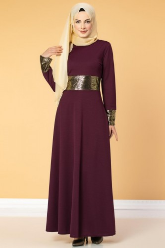 Bel Ve Kol Varaklı Elbise-5000 Mürdüm - Thumbnail