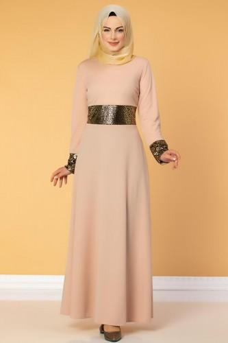 - Bel Ve Kol Varaklı Elbise-5000 Pudra