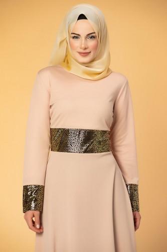 - Bel Ve Kol Varaklı Elbise-5000 Pudra (1)