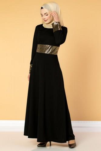 - Bel Ve Kol Varaklı Elbise-5000 Siyah