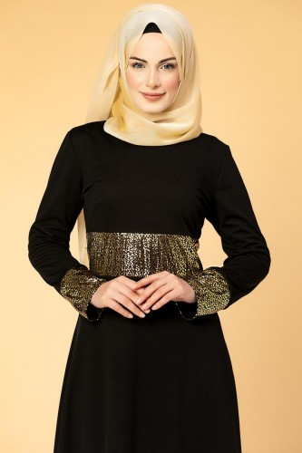 - Bel Ve Kol Varaklı Elbise-5000 Siyah (1)