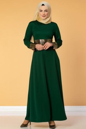 - Bel Ve Kol Varaklı Elbise-5000 Zümrütyeşili