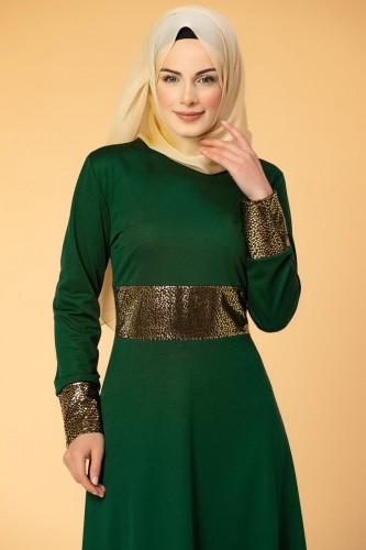 - Bel Ve Kol Varaklı Elbise-5000 Zümrütyeşili (1)
